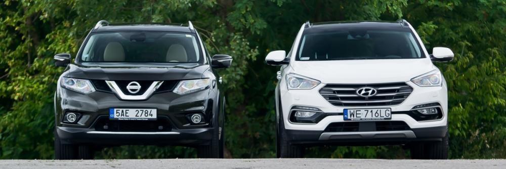 Thiết kế đầu xe Hyundai SantaFe 2017 và Nissan X-Trail 2017