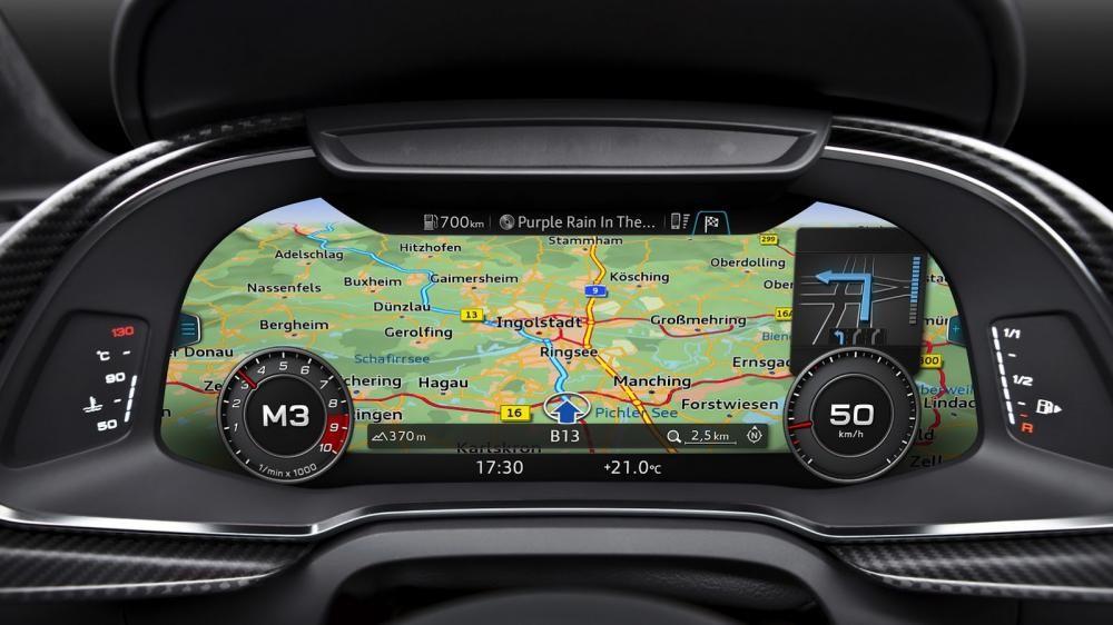 bảng điều khiển trung tâm của Audi R8 2017