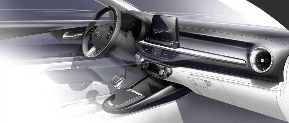 Nội thất được thiết kế theo chủ đề nằm ngang của Kia Forte 2019