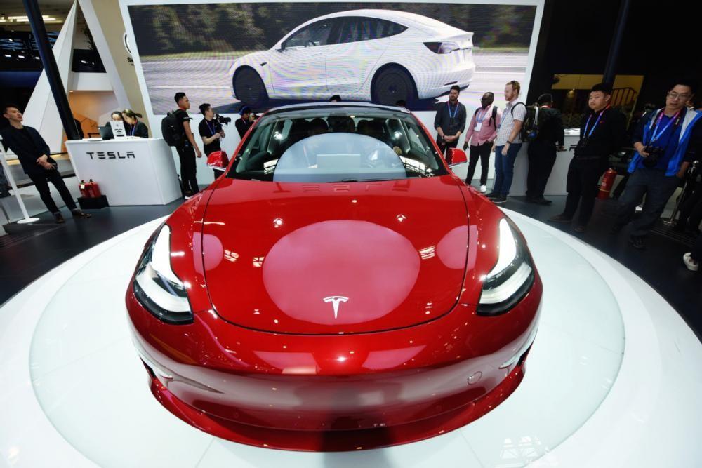 Tesla Model 3 được trưng bày ở triển lãm ô tô Bắc Kinh 2018