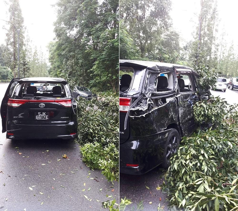 Chiếc minivan Toyota Estima tại hiện trường vụ tai nạn
