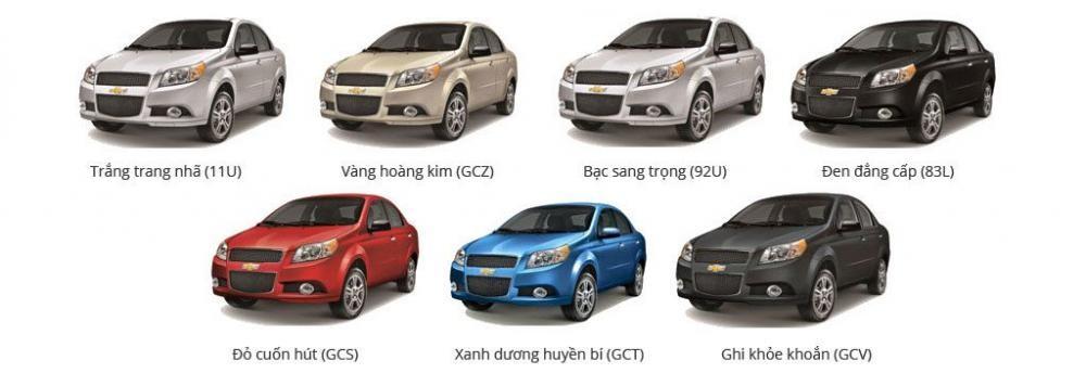 màu sắc ngoại thất của Chevrolet Aveo