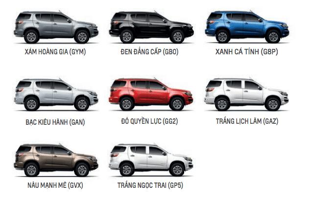 8 tùy chọn màu sắc ngoại thất của Chevrolet Trailblazer