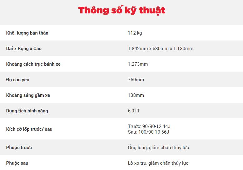 Thông số kỹ thuật của Honda Lead