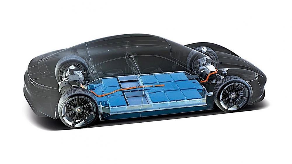 Mô hình hệ dẫn động điện của Porsche Taycan