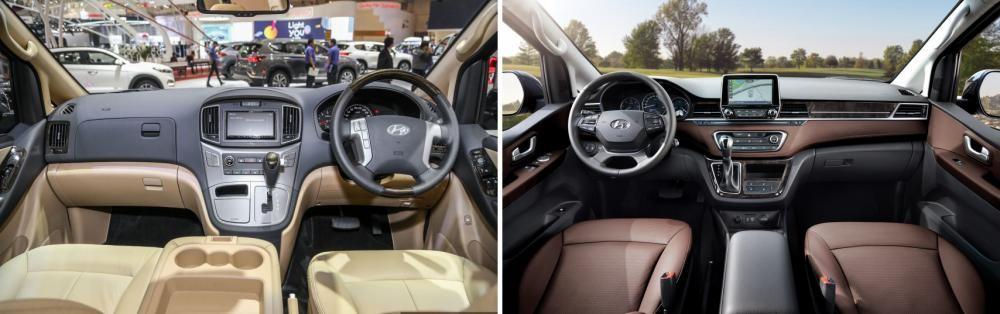 Nội thất Hyundai Grand Starex mới tại Indonesia (bên trái) khác hoàn toàn so với phiên bản ra mắt tại Hàn Quốc