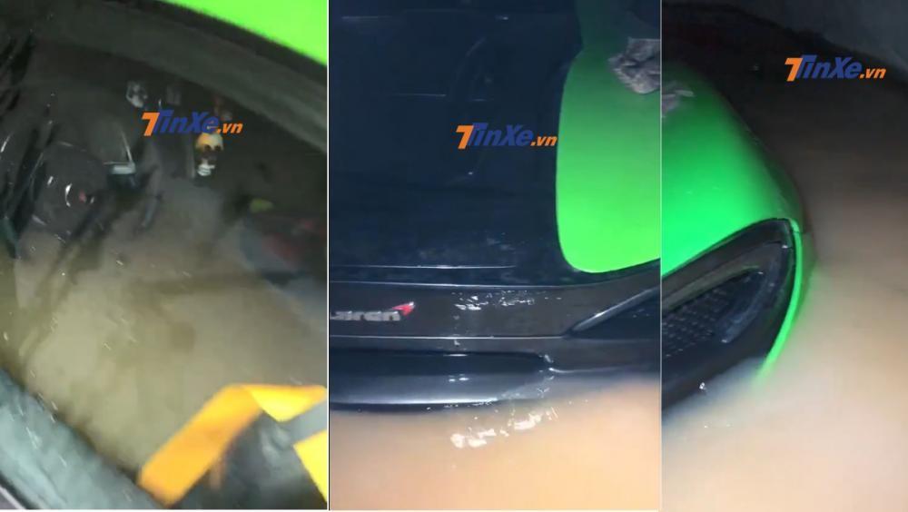 Nước lũ nhấn chìm khoang động cơ và nội thất siêu xe McLaren 570S màu xanh cốm này