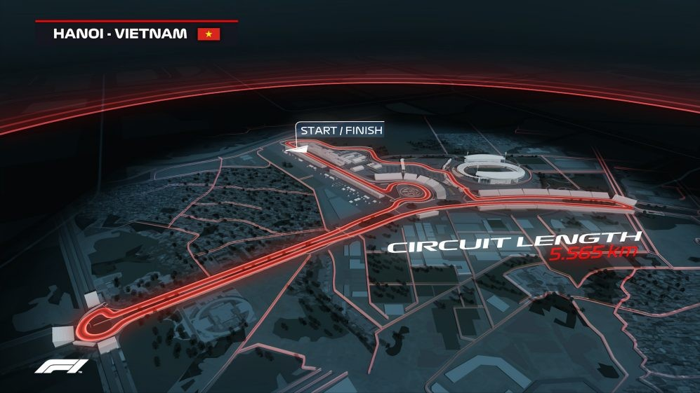 Tổng quan đường đua Công thức 1 dài 5,565 kmở Hà Nội, Việt Nam