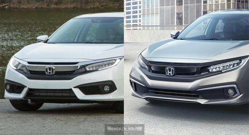 So sánh đầu xe của Honda Civic cũ (trái) và phiên bản 2019