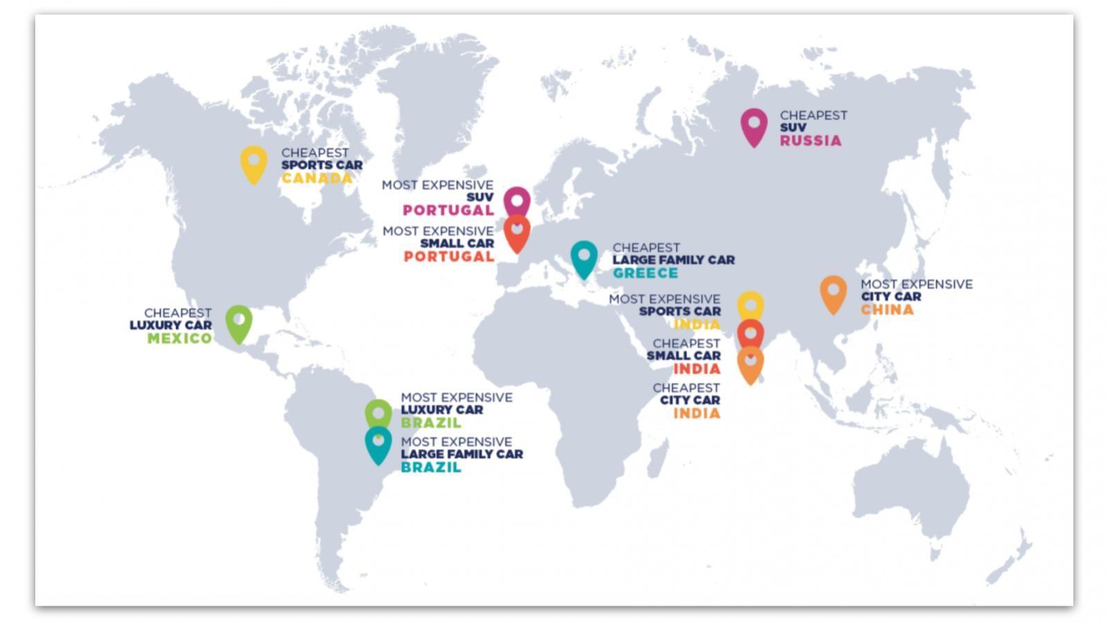 Những quốc gia có giá mua và nuôi xe rẻ nhất, đắt nhất trên thế giới theo Compare the Market