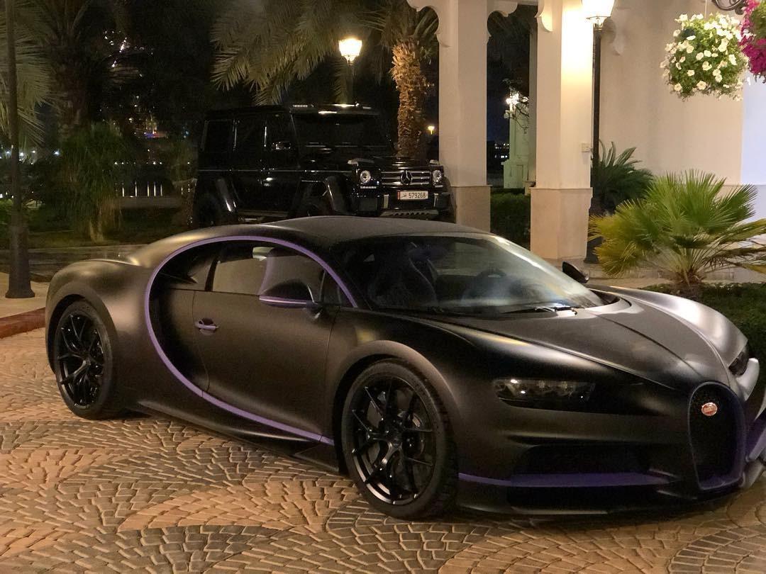 Siêu xe Bugatti Chiron màu đen phối tím của Maryam