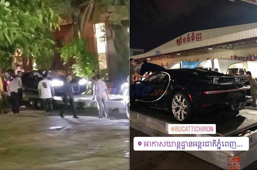 Hình ảnh ghi lại chiếc siêu xe triệu đô Bugatti Chiron lần đầu cập bến Campuchia trong tối ngày 7/12/2018
