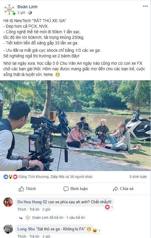 Dòng chia sẻ trên trang cá nhân của CEO hãng xe điện Pega tại Việt Nam
