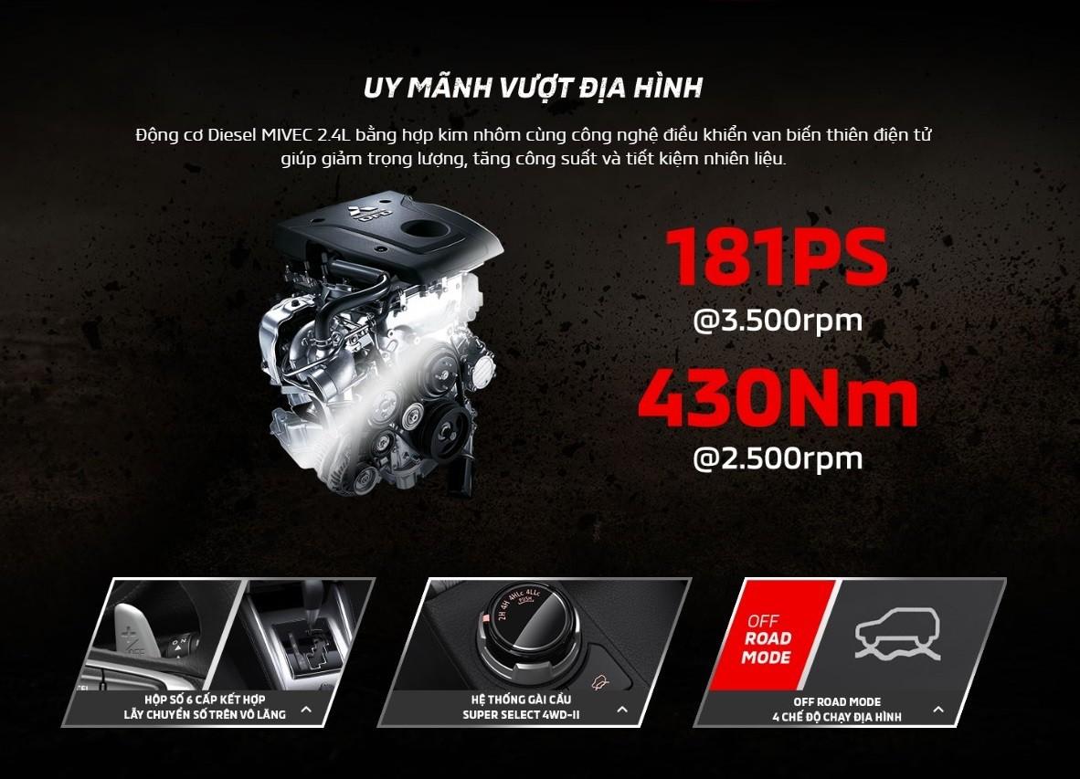 Thông số động cơ của Mitsubishi Triton 2019 tại Việt Nam