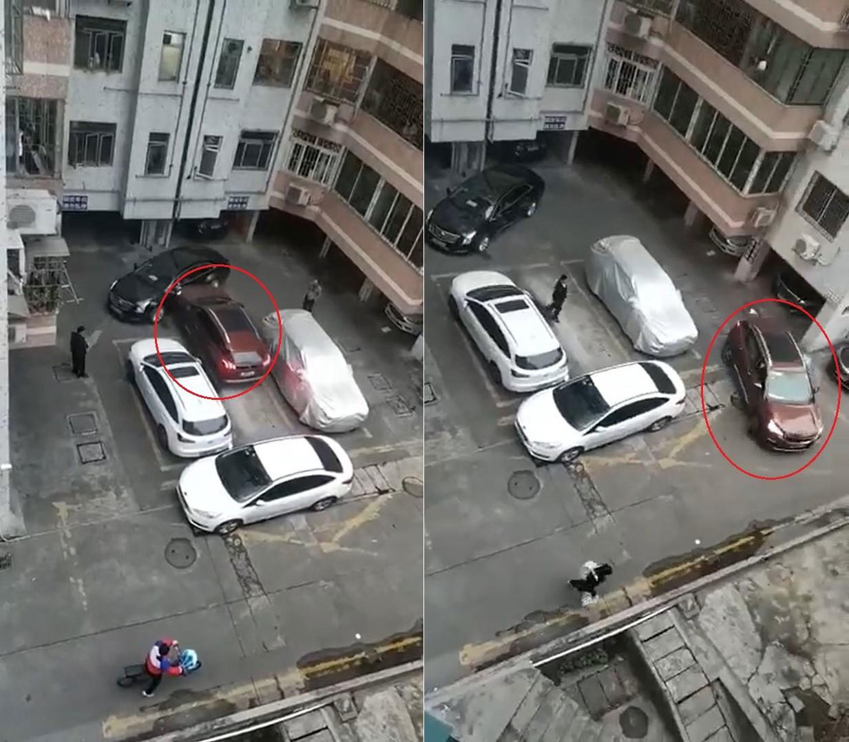 Chiếc Peugeot 3008 liên tục đâm chiếc xe sang Cadillac rồi thản nhiên bỏ đi