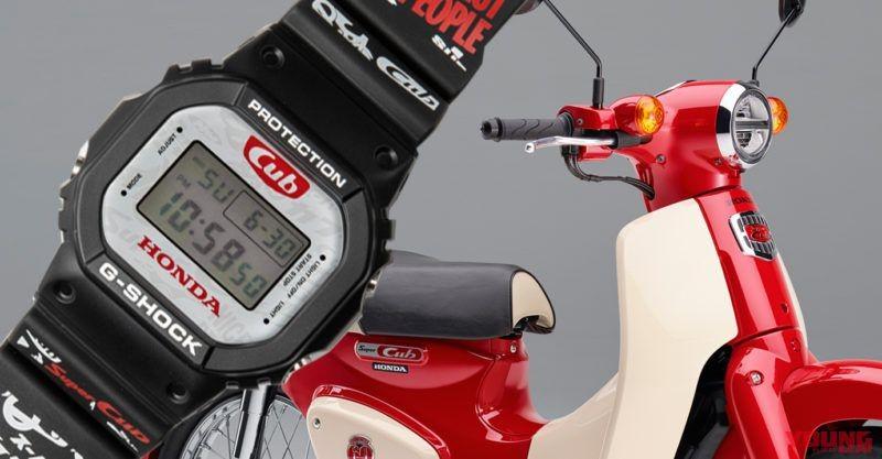 Chiếc G-Shock mang rất nhiều họa tiết với màu đỏ đặc trưng trên Honda Super Cub