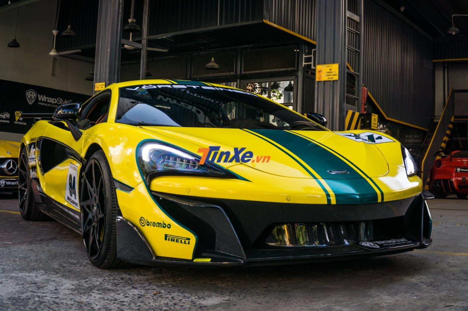 Bộ áo chiếc siêu xe McLaren 570S mới được chuyển sang màu vàng