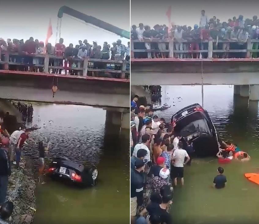 Người dân và lực lượng chức năng tham gia trục vớt chiếc Toyota Corolla Altis