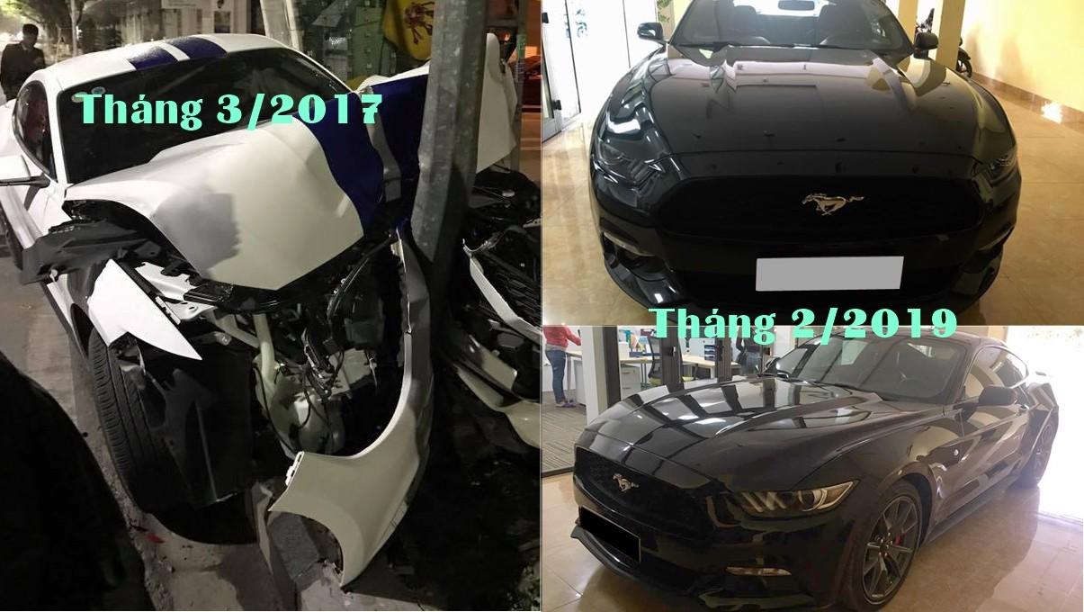 Ford Mustang 2015 nát đầu tại Huế vào năm 2017 đã tái xuất với ngoại thất long lanh như mới