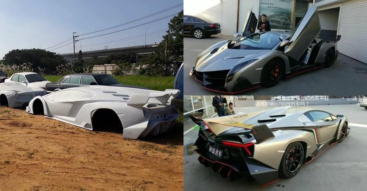 Những hình ảnh được lan truyền vềmột công ty Trung Quốc chuyên nhái thân vỏ siêu xe phương Tây