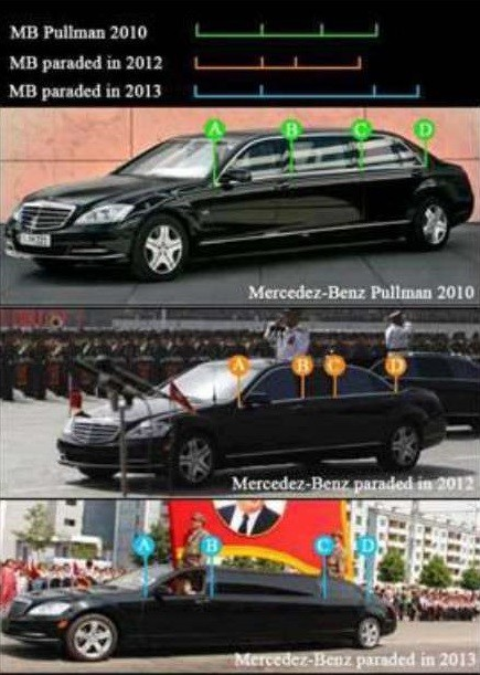 So sánh đặc điểm thân vỏ của Mercedes-Benz S600 Pullman 2010 tiêu chuẩn với 2 chiếc dùng để diễu hành tại Triều Tiên vào năm 2012 và 2013