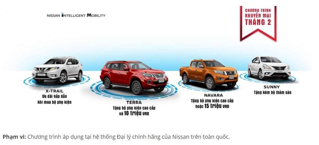 Sang tháng 2/2019, Nissan Việt Nam áp dụng chương trình khuyến mãi cho tất cả các mẫu xe hiện đang được phân phối