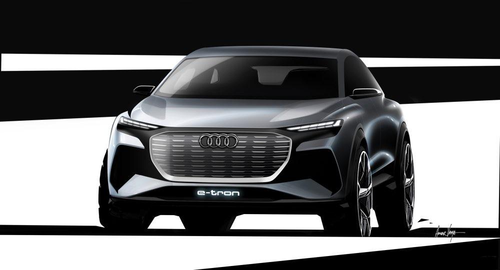 Góc nhìn phía trước bản nháp thiết kếcủa Audi Q4 e-tron