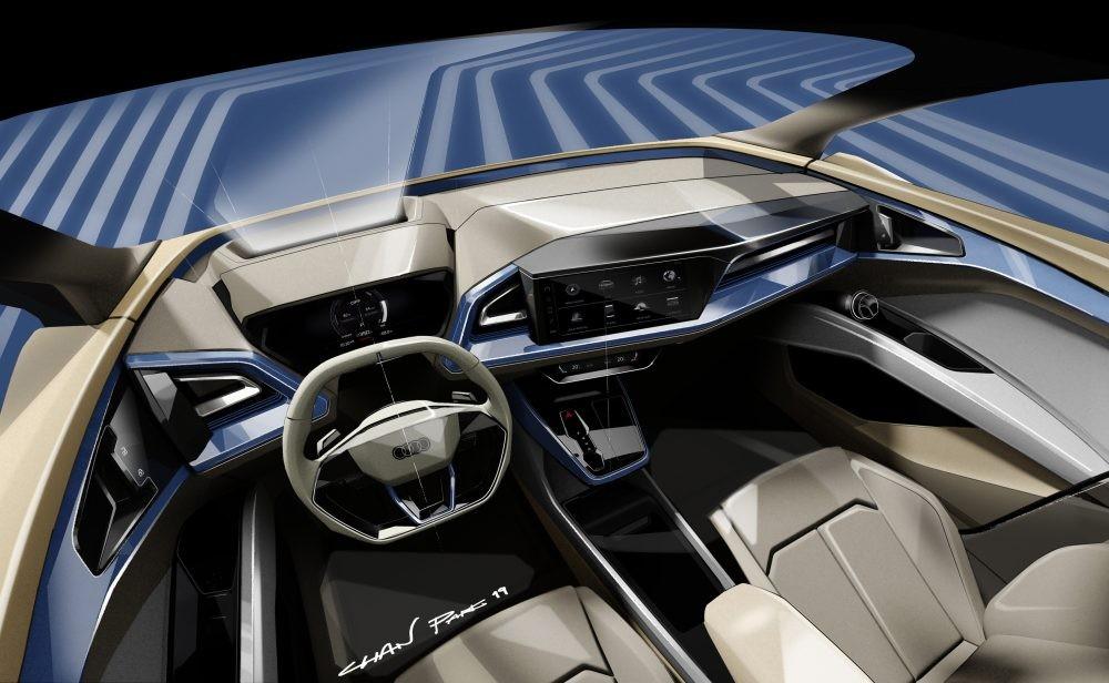 Nội thất khoang lái bản nháp thiết kế của Audi Q4 e-tron