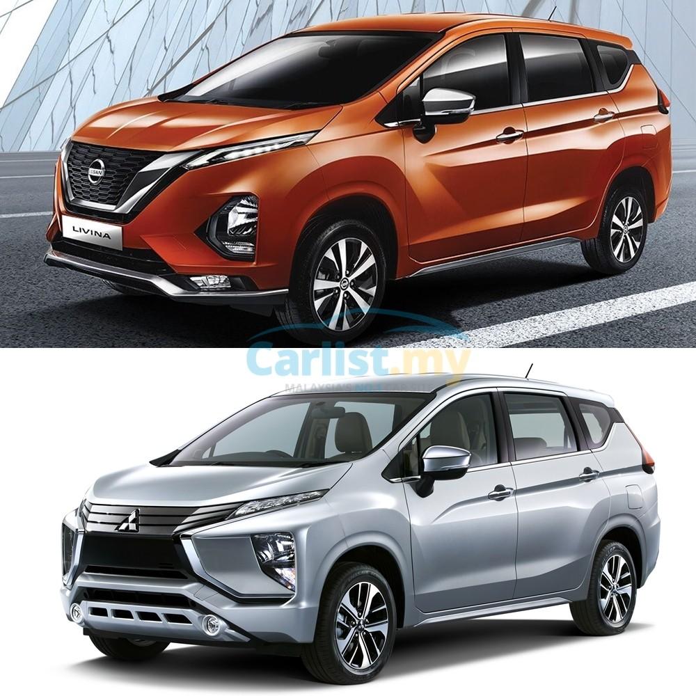 So sánh thiết kế đầu xe của Nissan Livina 2019 (trên) và Mitsubishi Xpander