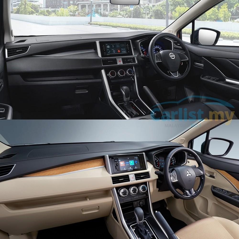 So sánh nội thất của Nissan Livina 2019 (trên) và Mitsubishi Xpander