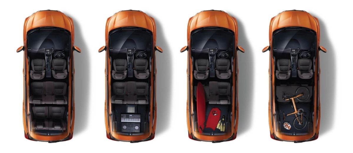 2 hàng ghế sau của mẫu MPV này có thể gập xuống để tăng thể tích khoang hành lý
