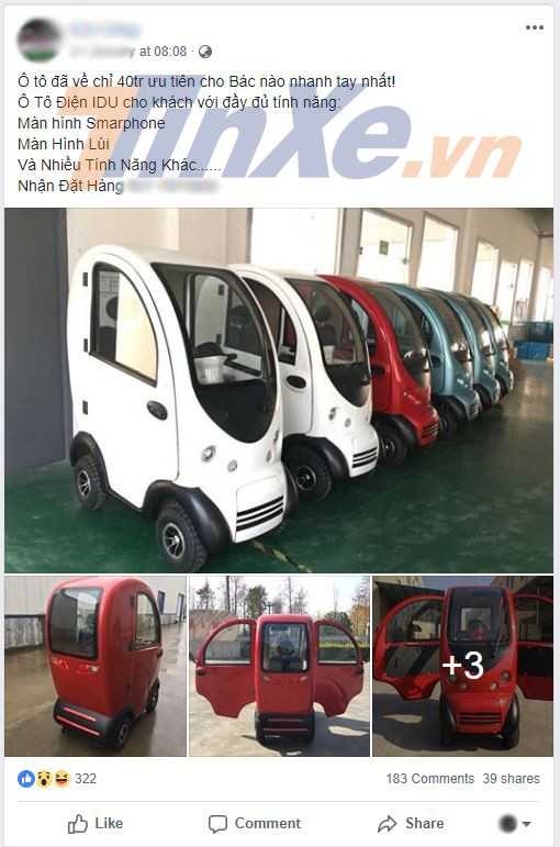 Mẫu xe điện mini 1 chỗ ngồi IDU đang được rao bán trên mãng xã hội