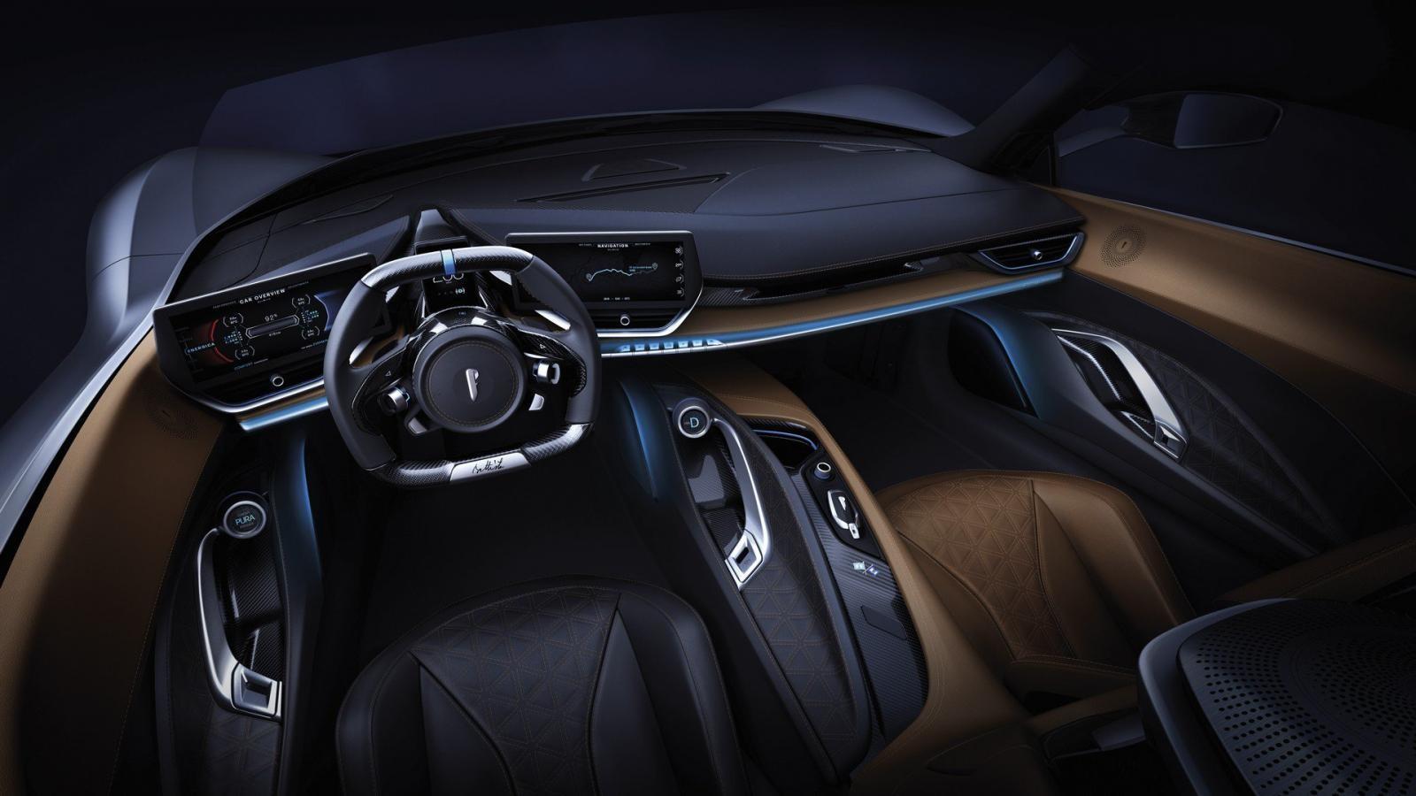 Khoang lái hiện đại mà gọn gàng củaAutomobili Pininfarina Battista