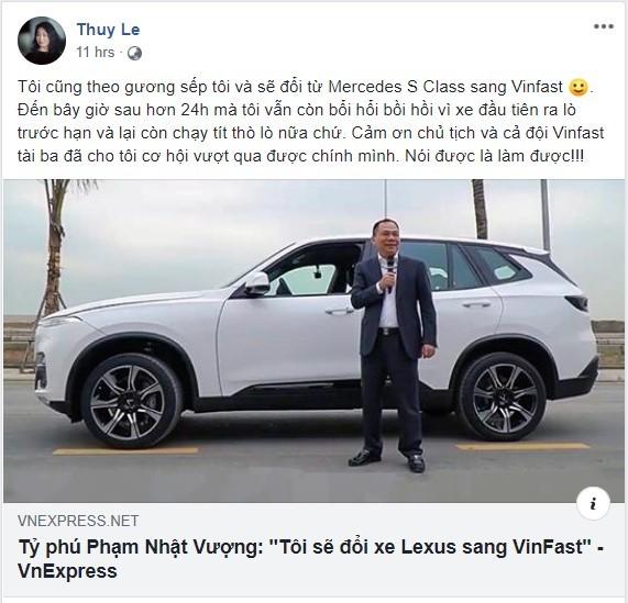 Chủ tịch VinFast Lê Thị Thu Thủy tuyên bố đổi Mercedes-Benz S-Class sang dùng xe VinFast