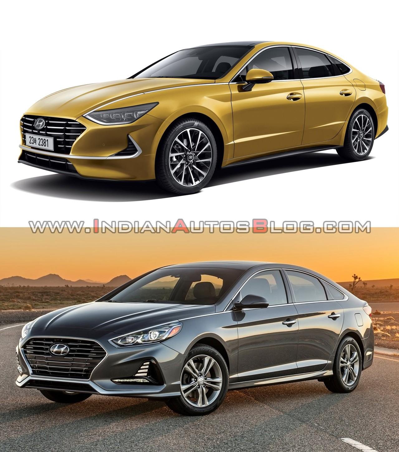 So sánh thiết kế đầu xe của Hyundai Sonata 2020 (trên) và bản cũ