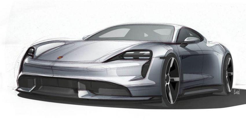 Hình ảnh vẽ nháp phía trước của Porsche Taycan