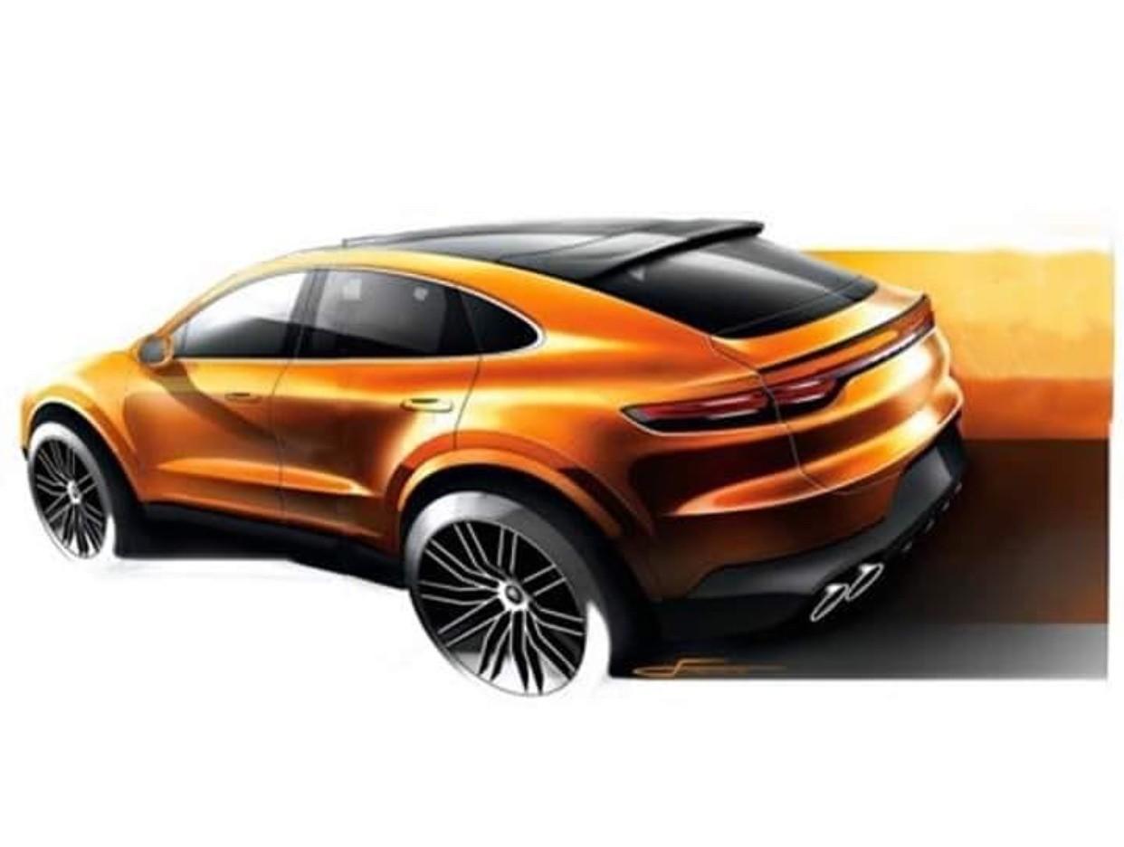 Hình ảnh phác họa được cho là của Porsche Cayenne Coupe 2020