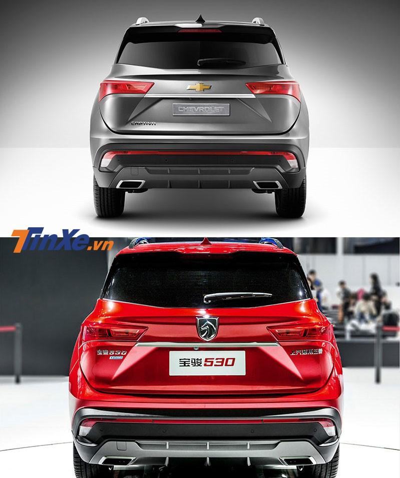 So sánh thiết kế đuôi xe của Chevrolet Captiva 2019 bản Thái Lan (trên) và Baojun 530