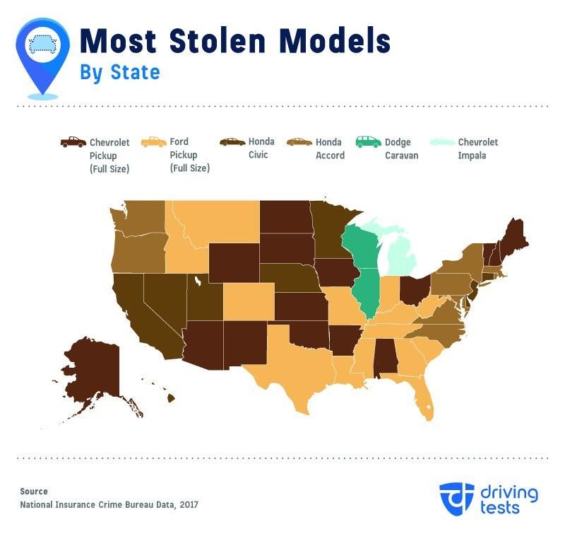 Các mẫu xe bị ăn trộm nhiều nhất theo từng bang nước Mỹ