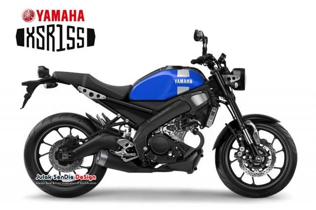 Hình ảnh đồ họa mô phỏng thiết kế dự kiến Yamaha XSR155
