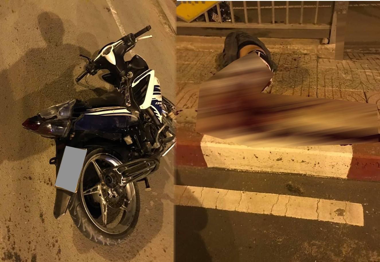 Hiện trường vụ tai nạn của nam thanh niên chạy xe Yamaha Exciter đứt lìa chân sau khi tông vào thành cầu