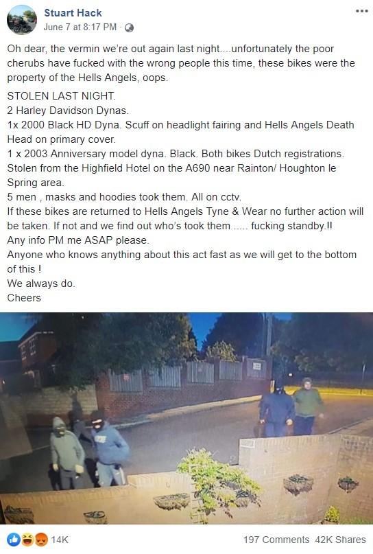 Bài đăng trên Facebook một thành viên của Hells Angels