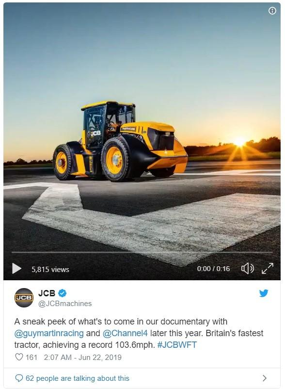 Thông báo đầy tự hào của JCB trênTwitter