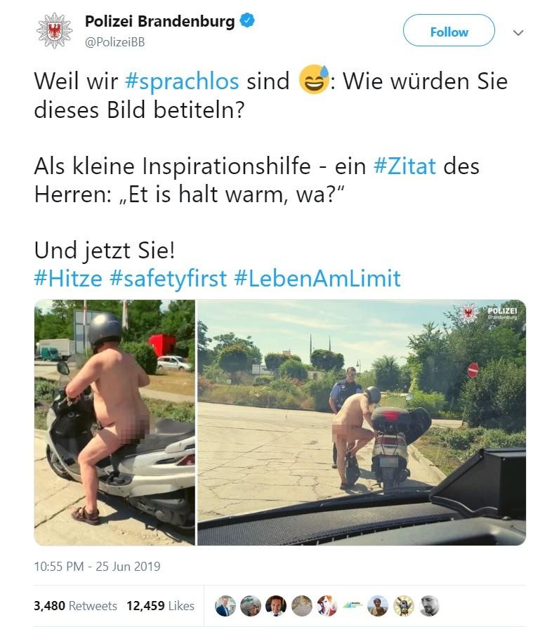 Dòng chia sẻ của sở cảnh sát Brandenburg - Đức về người đàn ông khỏa thân chạy xe tay ga