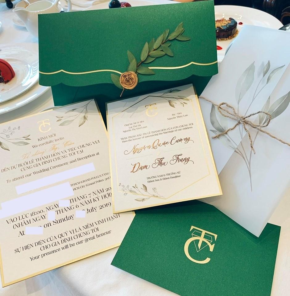Thiệp cưới của Cường Đô-la và Đàm Thu Trang đã được gửi đến cho bạn bè