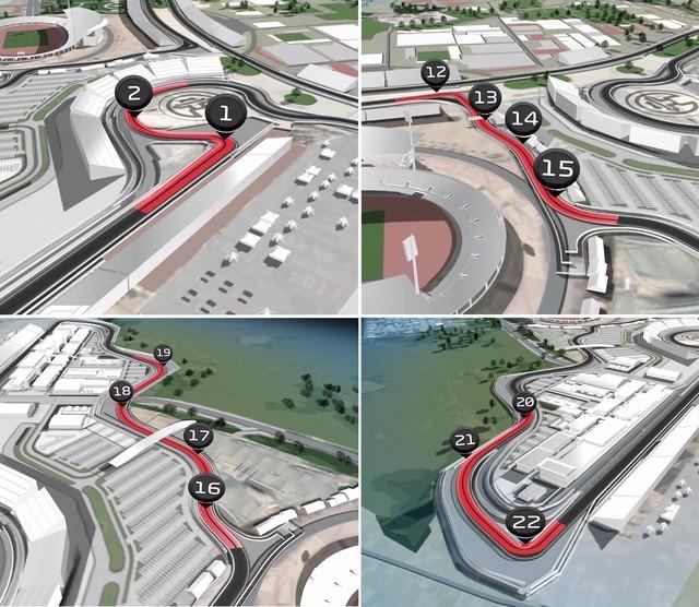 Hình ảnh mô phỏng những khúc cua trên đường đua F1 tại Hà Nội