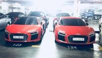 Cặp đôi Audi R8 V10 Plus đồng màu xuất hiện cùng nhau tại hầm đỗ xe ở Sài thành