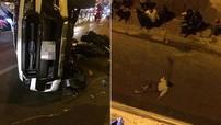 Sài Gòn: Ford Ranger đâm 2 xe máy, hất 1 người đàn ông rơi từ trên cầu xuống đất