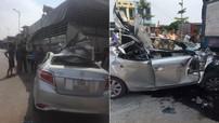 """Bắc Ninh: Toyota Vios lao thẳng vào đuôi ô tô tải đang dừng bên đường, biến thành """"xe mui trần"""""""