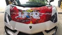 """Siêu xe Lamborghini Aventador độ """"khủng"""" được chủ nhân lên băng rôn cổ vũ Olympic Việt Nam"""